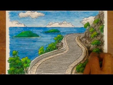 Cara Menggambar Dan Mewarnai Pemandangan Laut Dan Gunung Sea And