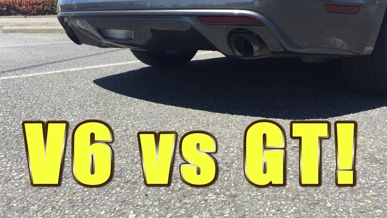 2016 Mustang V6 Exhaust >> 2016 Mustang V6 Stock Exhaust Vs Gt Catback Swap Youtube