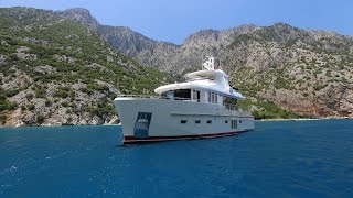 Bering 60 - Steel luxury trawler yacht cruising the Mediterranean