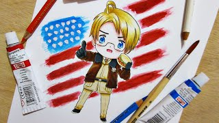 Speed Drawing Chibi America || Hetalia