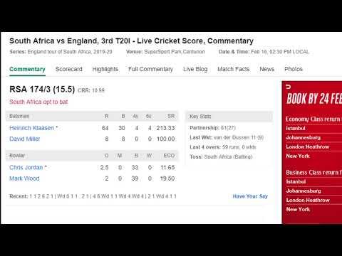 South Africa Vs England R 3rd T20I Live Streaming |ENG Vs SA Live