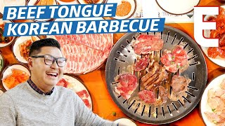 Beef Tongue Korean Barbecue on An All-Charcoal Grill - K-Town