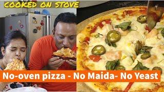 Maida Free Instant Pizza On Tava - No Oven - No Yeast - No Maida Pan Pizza - Whole Wheat Pizza Dough