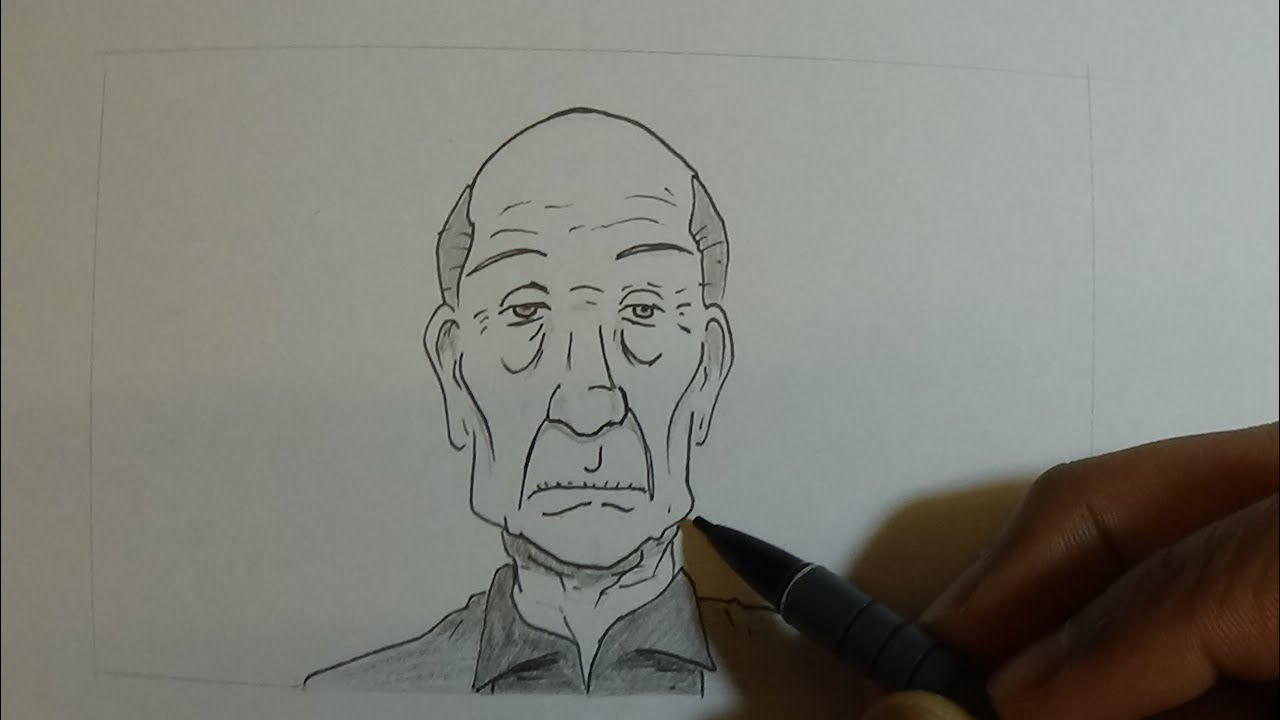 How to draw old people man
