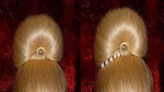 Причёска на выпускной, свадебная/вечерняя причёска.Пучок из волос.Причёски своими руками