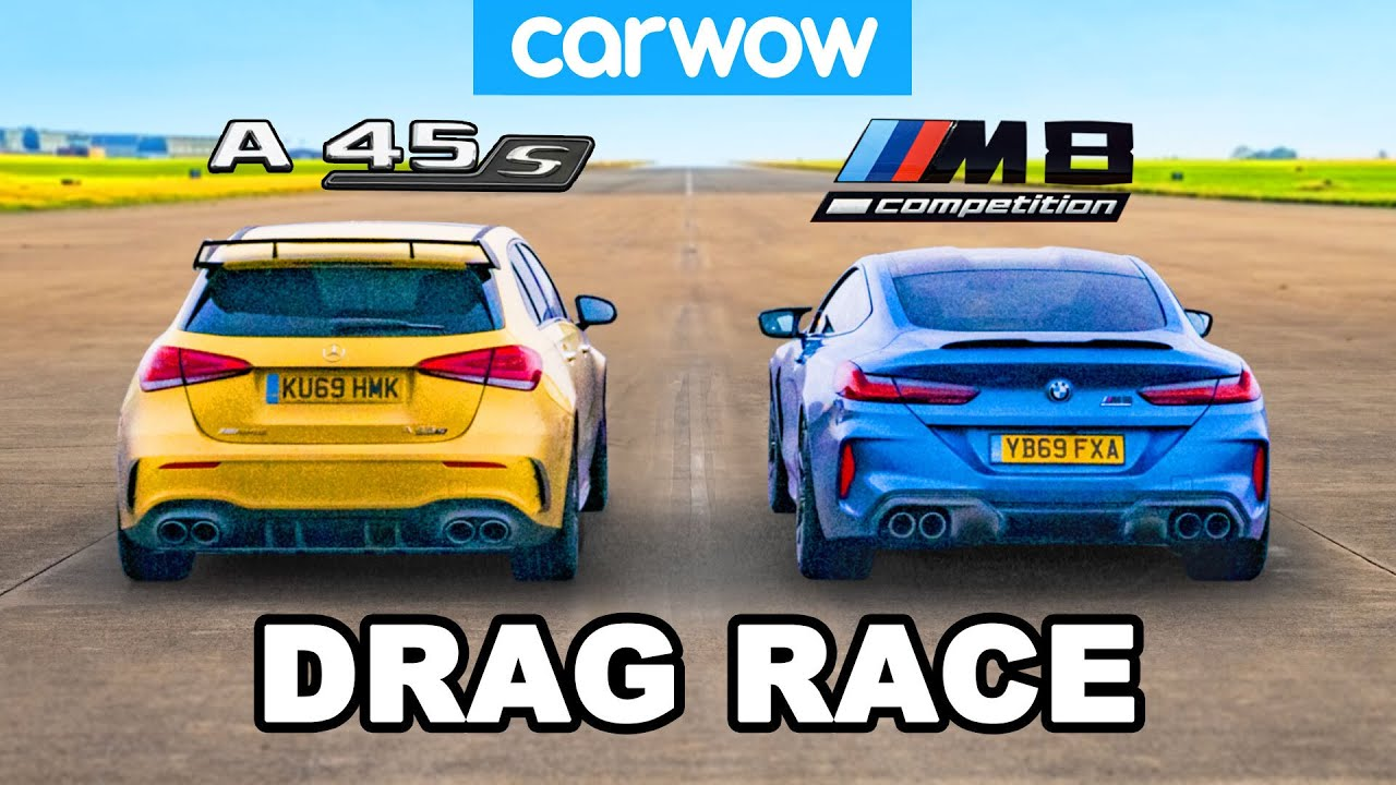 BMW M8 v AMG A45S - DRAG RACE *2WD mode vs AWD*