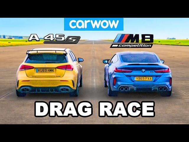 BMW M8 v AMG A45S - DRAG RACE *2WD mode vs AWD*