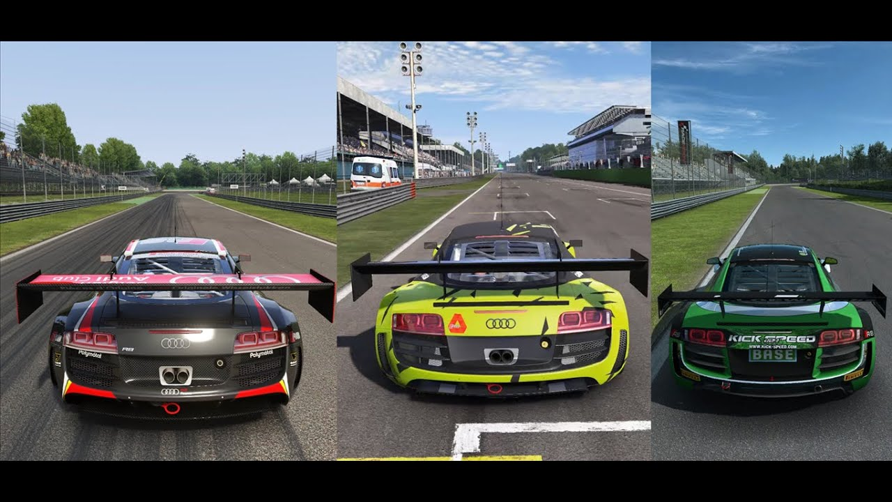Assetto Corsa vs  Project Cars vs  RaceRoom Racing Experience - Audi R8 LMS  Ultra @Monza GP by Alistair McKinley