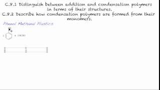 C.8.1 (&C.8.2) Distinguish between addition and condensation polymers in terms of their structures.
