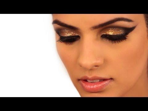 Makeup How To: Metallic Gold Cat Eye Makeup - Glamrs - 동영상
