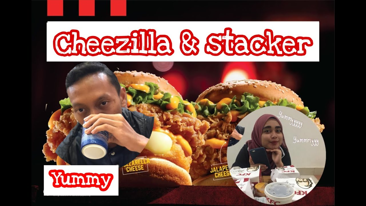 MUKBANG CHEEZILLA & STACKER KFC BARU | Zinger Burger - YouTube
