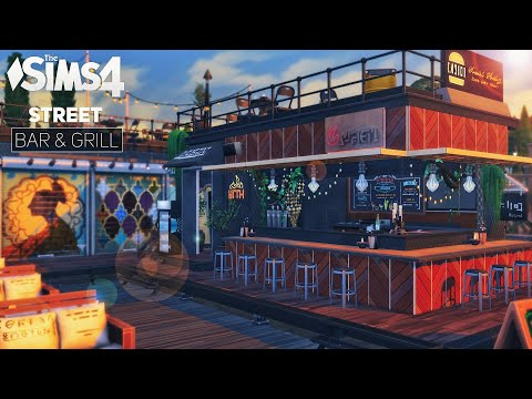 Street Bar & GRILL 🔥 Shipping Container RESTAURANT | No CC | THE SIMS 4 Stop Motion