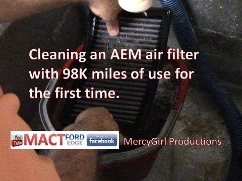 Cleaning an AEM air filter with 98K miles of use for the first time