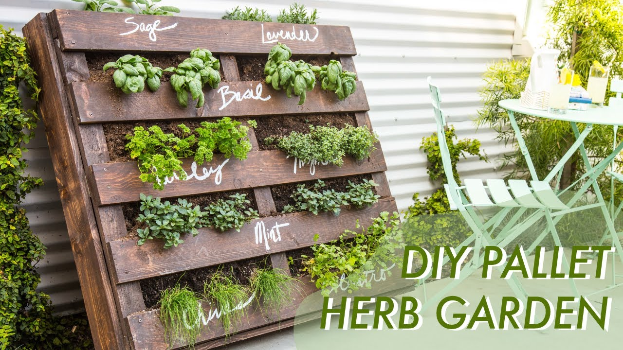 diy shipping pallet herb garden makeful youtube. Black Bedroom Furniture Sets. Home Design Ideas