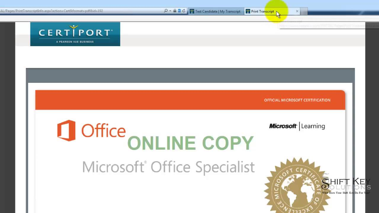 Printing Mos Cert From Certiport Youtube