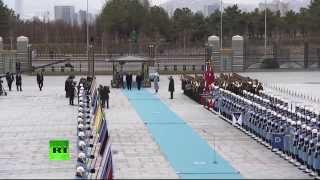 Официальная церемония встречи Владимира Путина в Анкаре