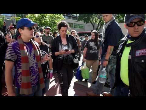 Joey Gibson and Kyle Chapman aka Stickman are heckled by Antifa at Patriot Prayer Portland