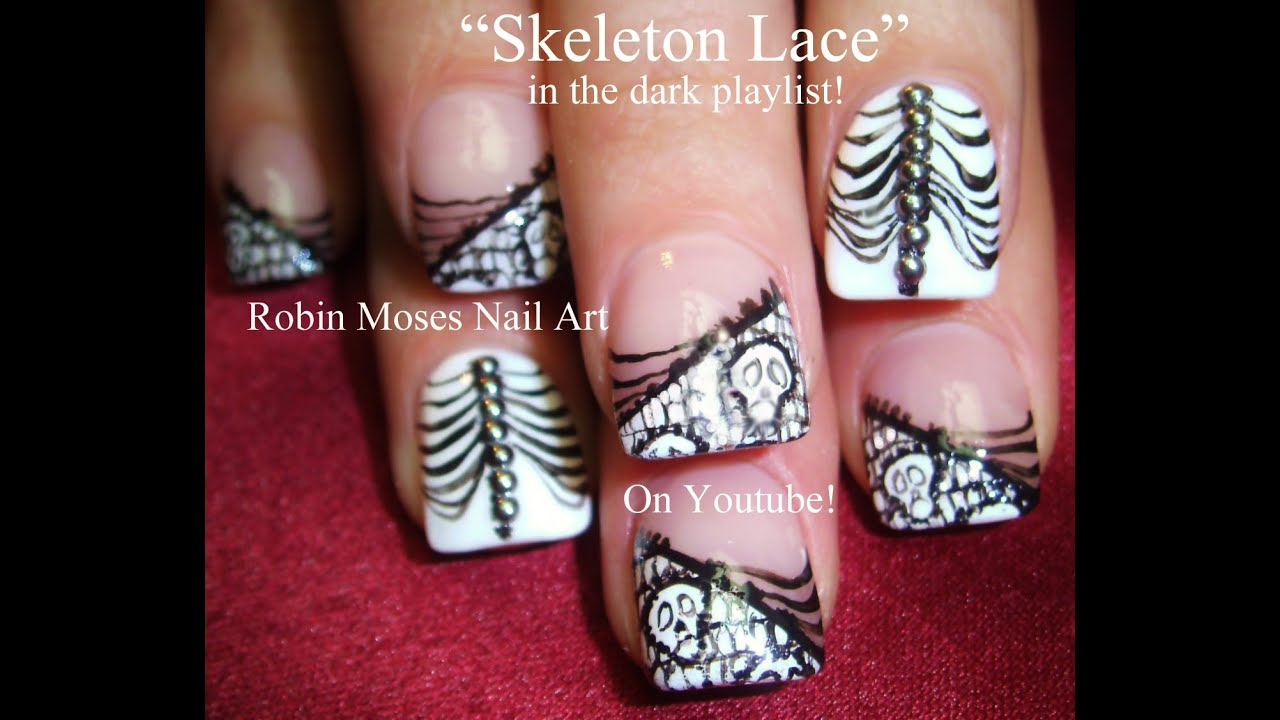Nail Art | Halloween Nails | Black and white Skeleton Lace Nail Design  Tutorial - Nail Art Halloween Nails Black And White Skeleton Lace Nail