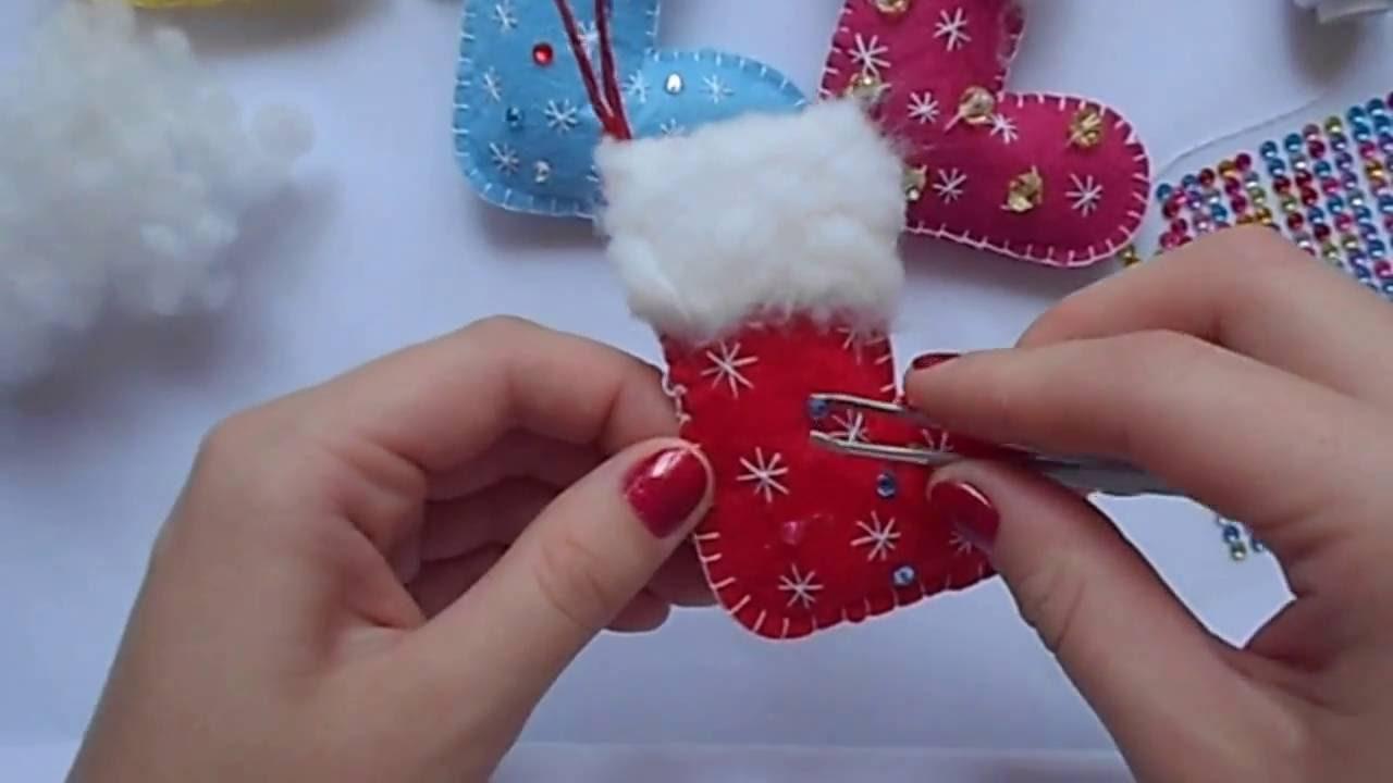 Новогодние игрушки из фетра своими руками / новогодний ...