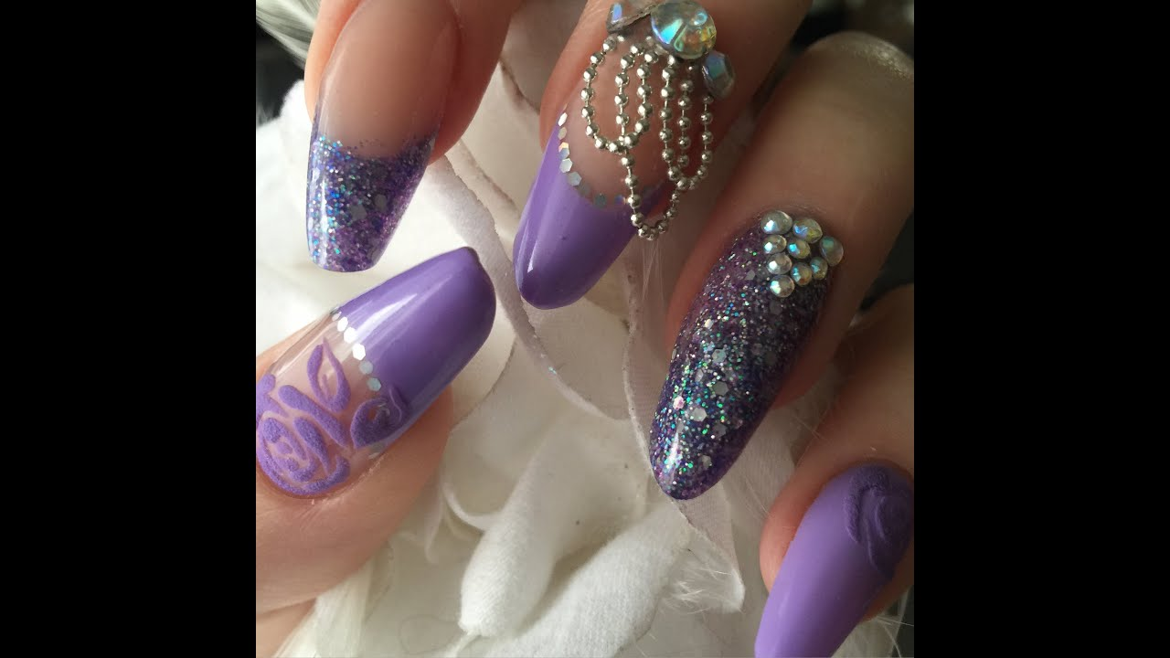 Lilac Acrylic Nails With Gems And Beads - YouTube