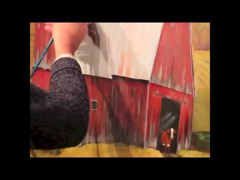 Reworking An Acrylic Painting Big Red Barn Youtube