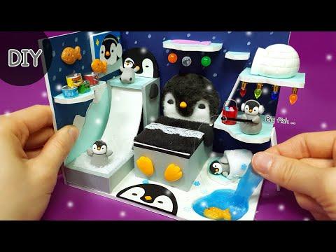 DIY miniature dollhouse   Penguin winter Room decor !