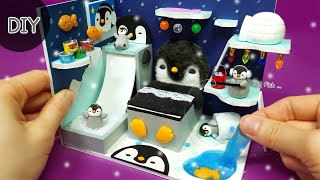 DIY miniature dollhouse   Penguin winter Room decor !