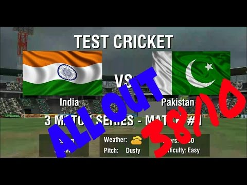 World Cricket Championship 2 Gameplay   38 all out 3 Test match Between India & Pakistan 1st innings
