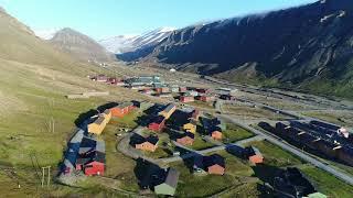 Drone Flight over Longyearbyen Svalbard