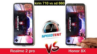 Honor 8X vs Realme 2 Pro Speed Test Comparison | Kirin 710 vs Snapdragon 660 || in telugu