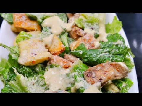 How To Make Chicken Caesar Salad At Home|Caesar Salad Dressing Recipe | Quick & Easy Salad Recipe