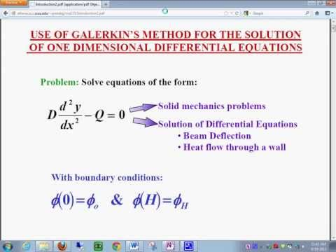 Galerkin's Method for the Solution of Problem with Partial Differentian Equations1992013 1146 44