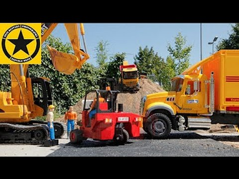BRUDER Excavator Toys and BRUDER Trucks StopMotion in Jack's World Construction + Logistics