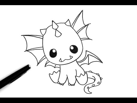 Comment dessiner un dragon kawaii youtube - Dessiner dragon ...