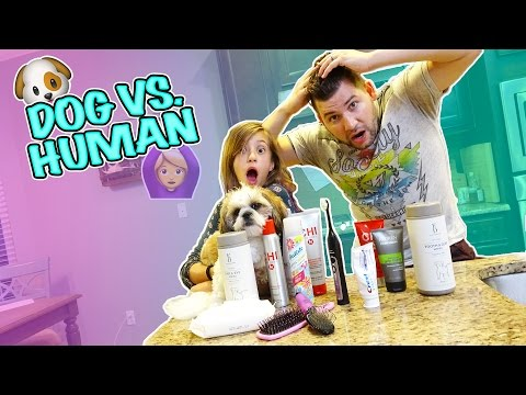 DOG BEAUTY PRODUCTS VS. HUMAN BEAUTY PRODUCTS! PUPPY SALON!