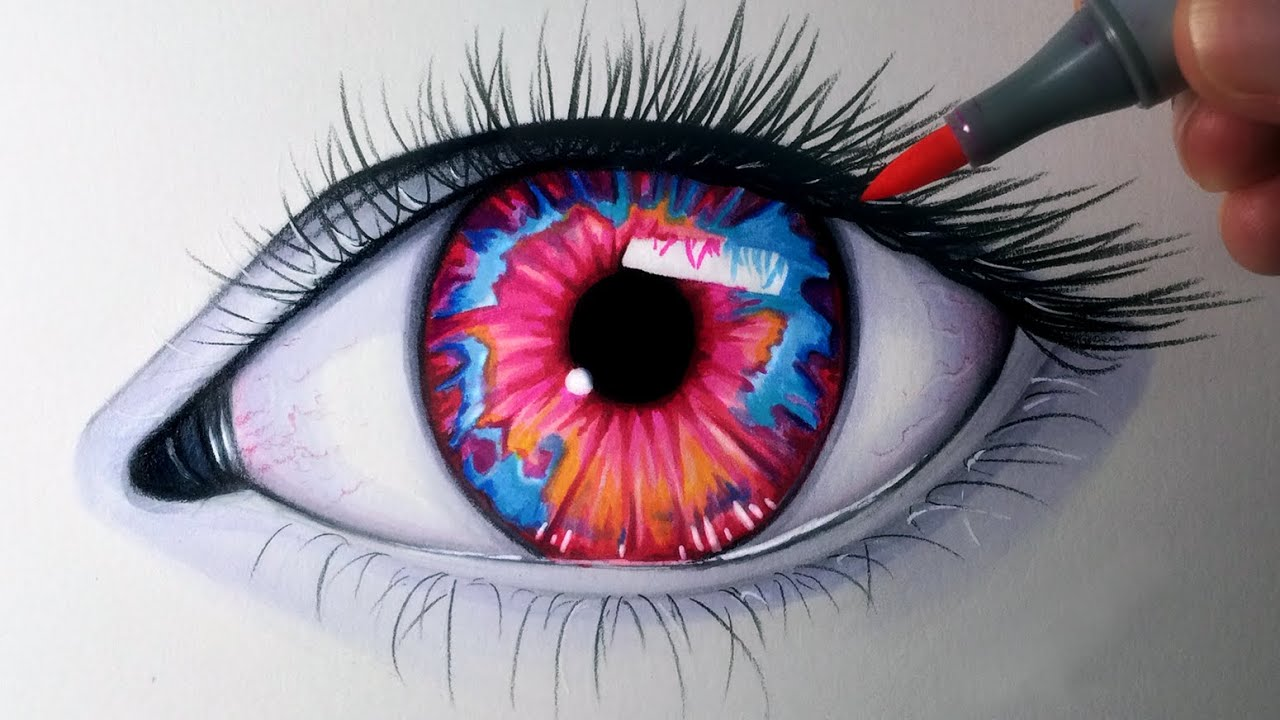 Drawing an opal coloured eye time lapse