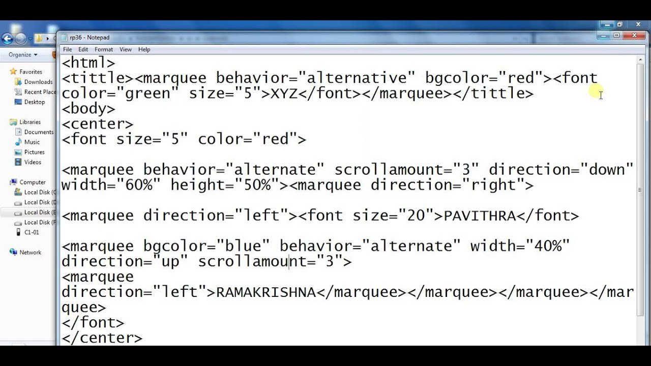 How to different types of animation using marquee tag
