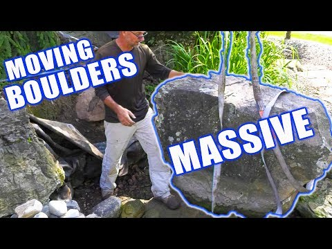 Strapping And Moving Large Pond Boulders