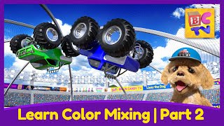 Learn Color Mixing with Monster Trucks Part 2 | Educational Video for Kids
