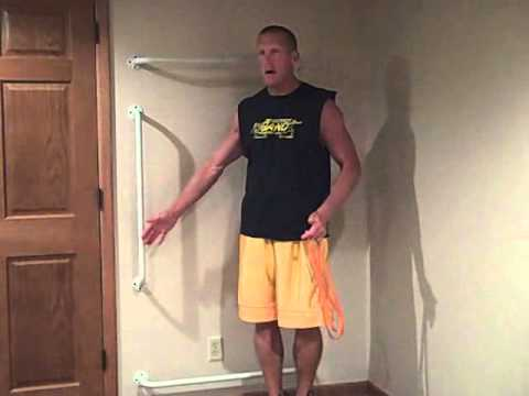 Home gym Bar setup for resistance band training
