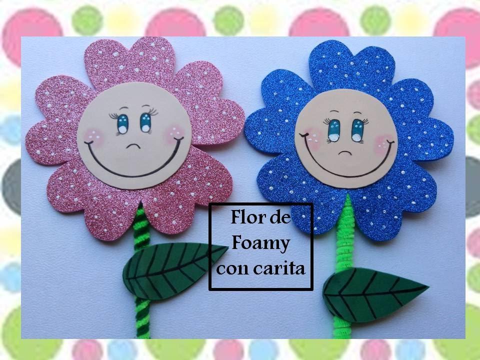 6b918943591 Flor de foamy con carita sonriente - YouTube