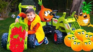 Tema had a farm fruits and Kid Ride on Tractor