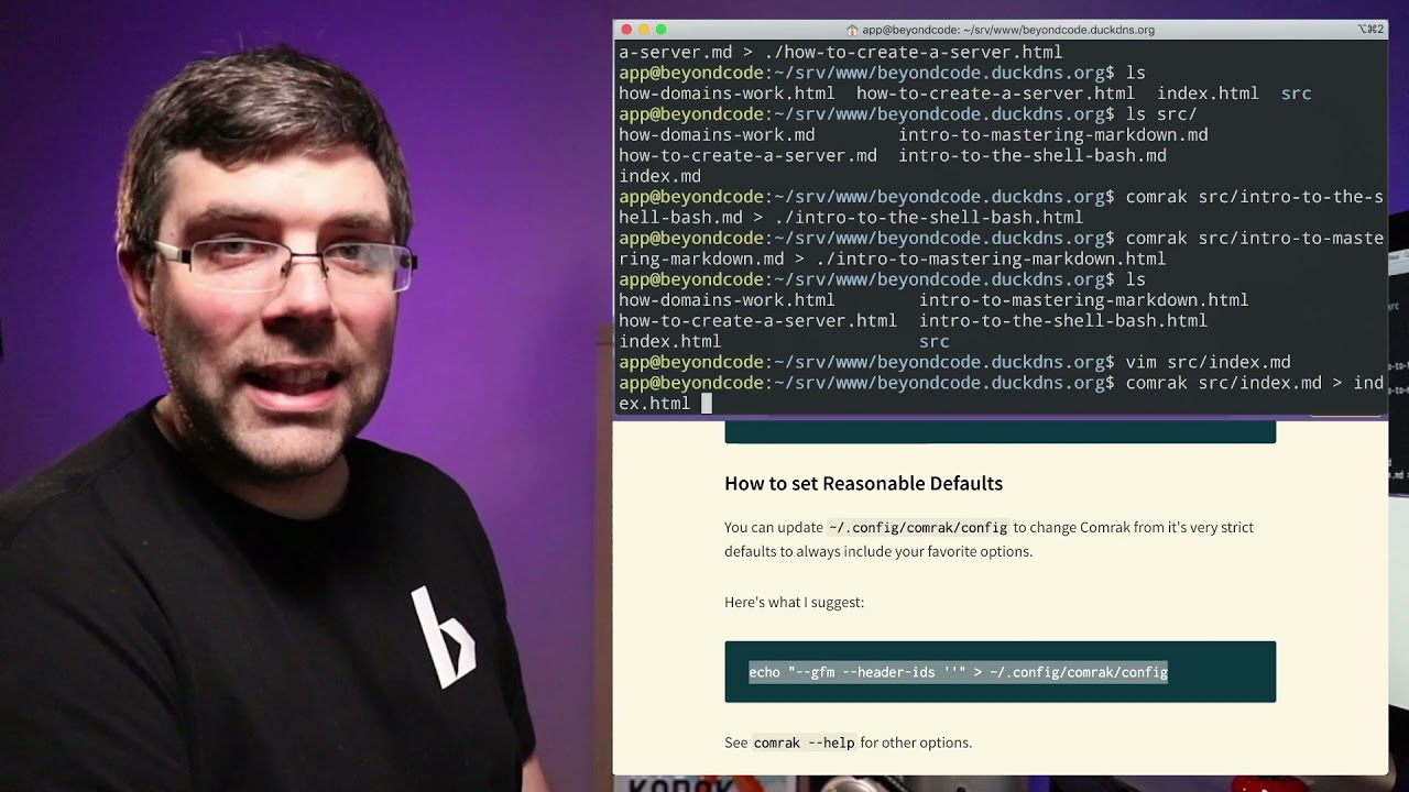 How to create a Simple Website with Markdown and Bash - Beyond Code Live 008