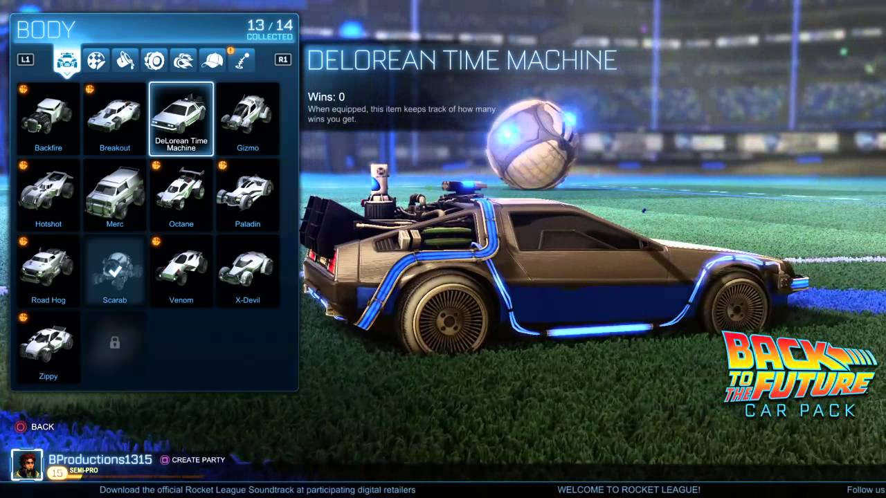 Rocket League Back to the Future pack car showcase - YouTube
