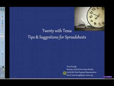 Twenty with Tessa - Tips with Spreadsheets Part 1.flv