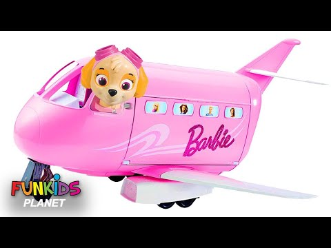 Thumbnail: Learning Colors For Kids: Paw Patrol Skye & Chase Flies Barbie Glamour Vacation Jet Airplane Toy