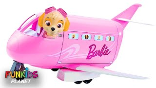 Videos For Kids: Paw Patrol Skye & Chase Flies Barbie Glamour Vacation Jet Airplane Toy