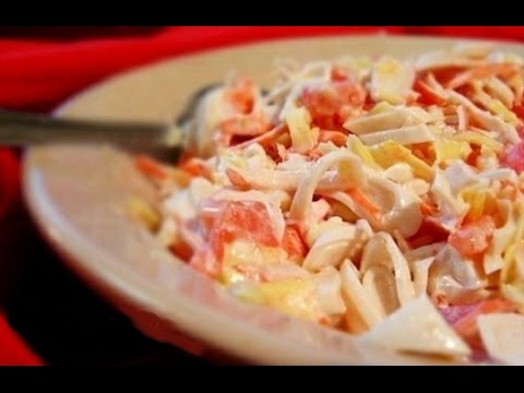 вкусный салат из кальмаров, новогодний рецепт