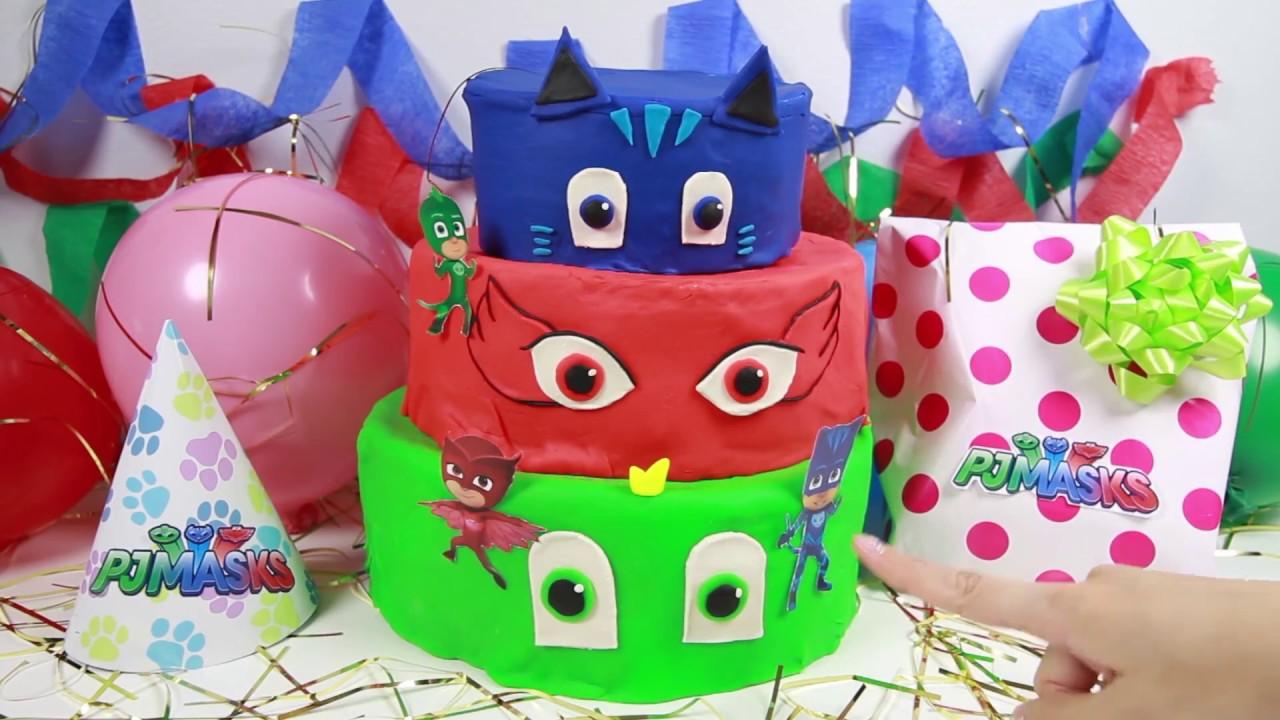 Learn Colors Birthday Cake Surprise With PJ Masks