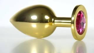 Золотистая анальная пробка с кристаллом